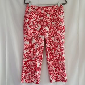 TALBOTS Petites Stretch Red White Capri Pants